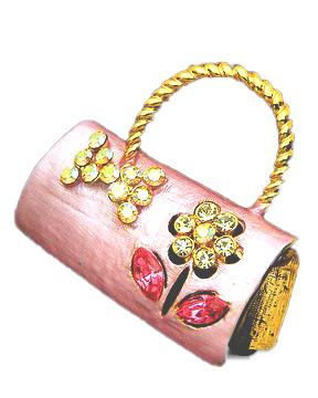 31mm-Pink-Jeweled-Crystal-Purse-Pin-Brooch-NEW