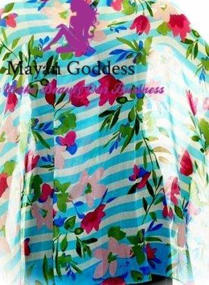 Aruba-Blue-Floral-Striped-Sarong-New