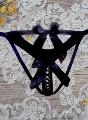 Black-Strappy-Ribbon-Bows-G-string-Panty-DISPLAY-global-mobile-APP